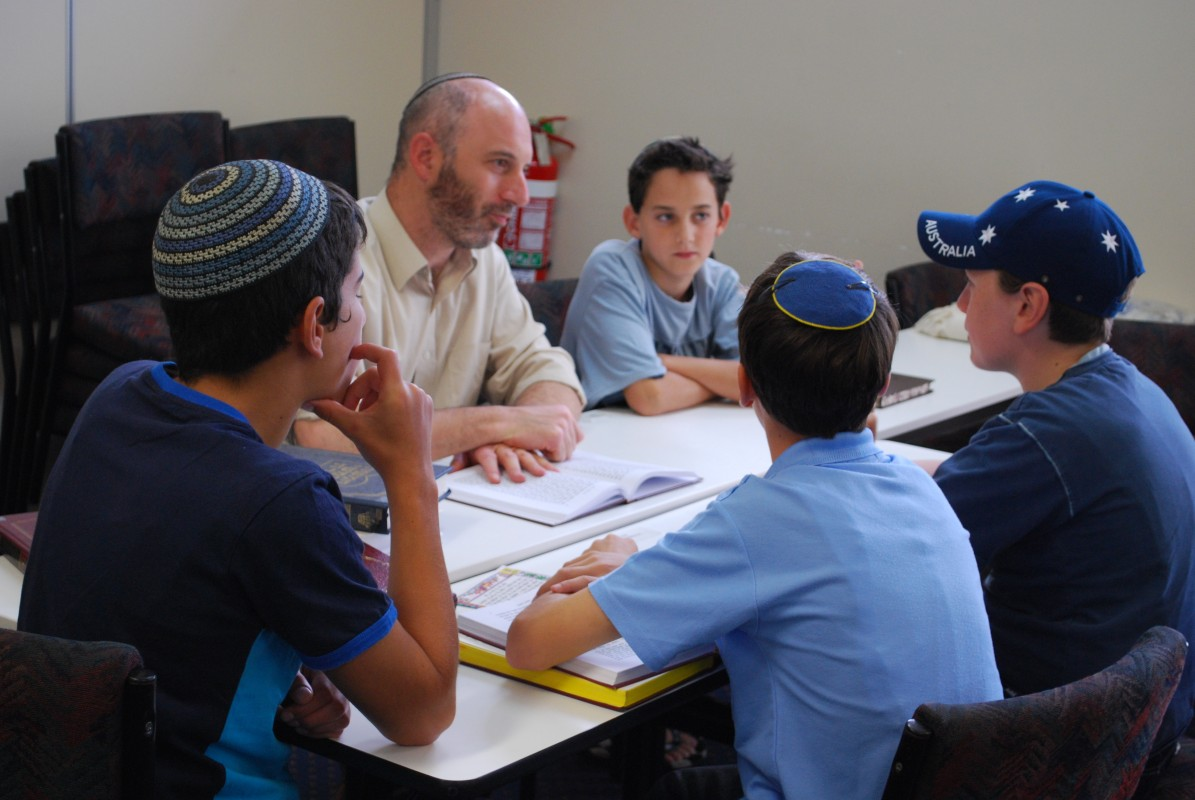Young jewish kids learns the bible